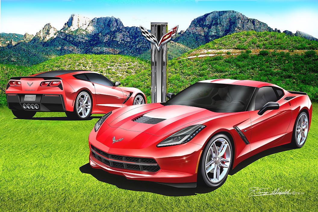 Canvas Santa Fe >> Chevrolet Corvette Automotive Fine Art prints - The ...