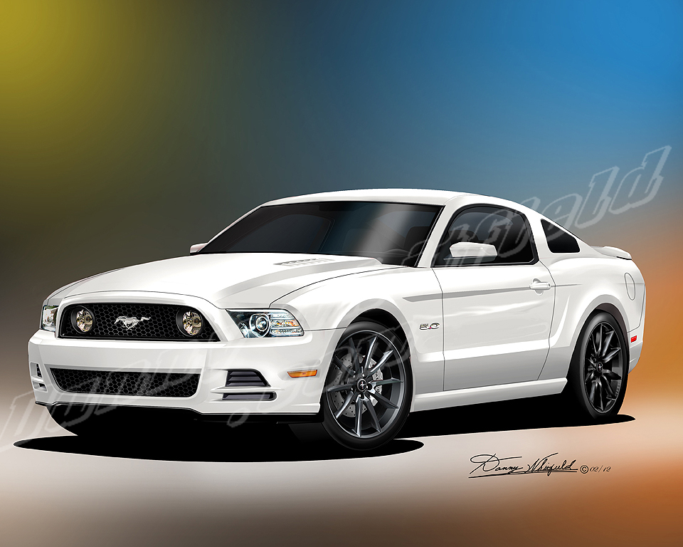 2013 2014 ford mustang car art print poster by danny whitfield. Black Bedroom Furniture Sets. Home Design Ideas