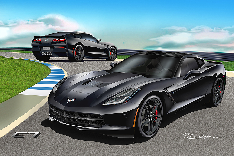 chevrolet corvette 2014 black. chevrolet corvette coupe fine art prints 2014 2017 by danny whitfield black