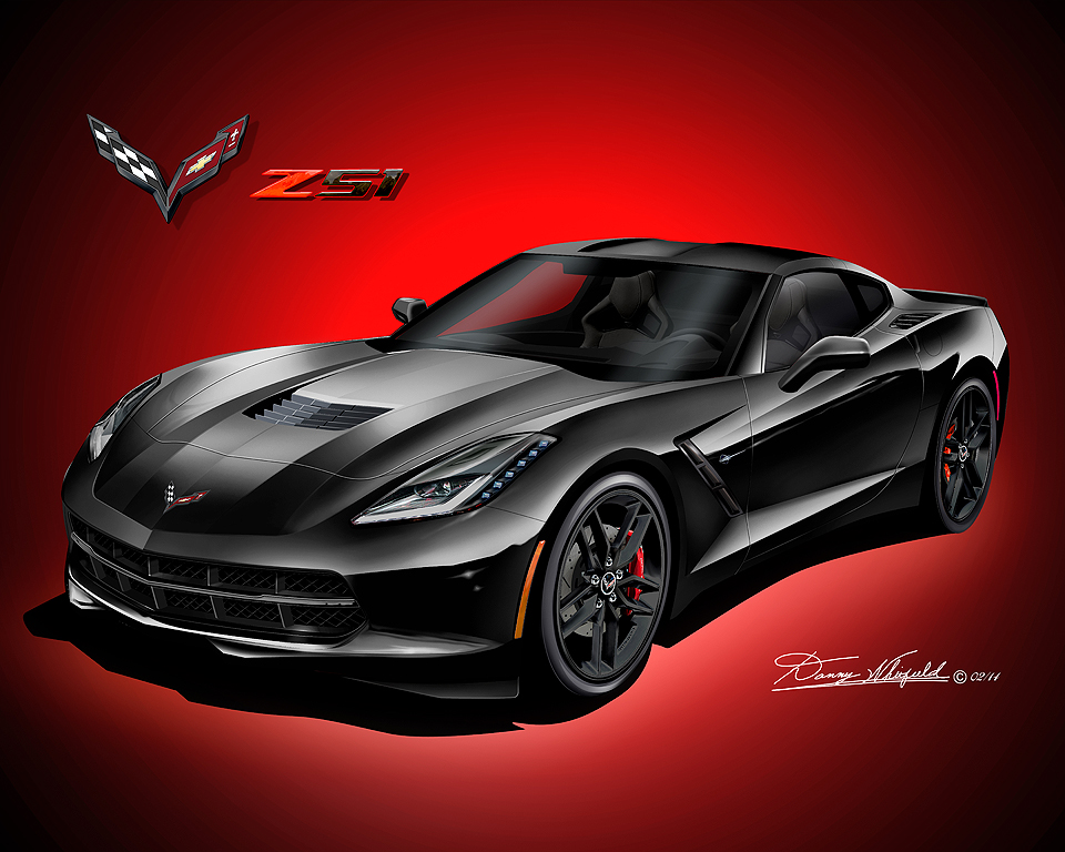 chevrolet corvette coupe fine art prints 2014 2017 by. Black Bedroom Furniture Sets. Home Design Ideas