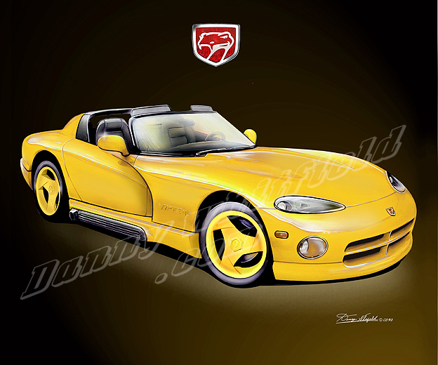 Dodge Viper Yellow Dodge viper art print poster