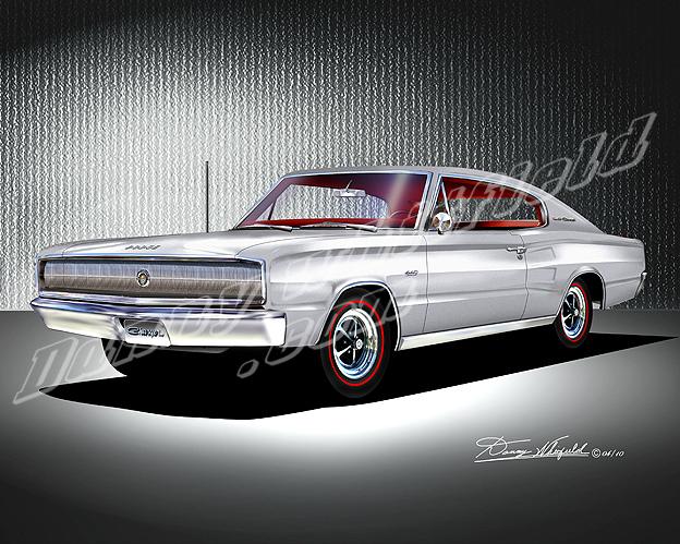 1966-1967 Dodge Charger- car art print poster by Danny Whitfield
