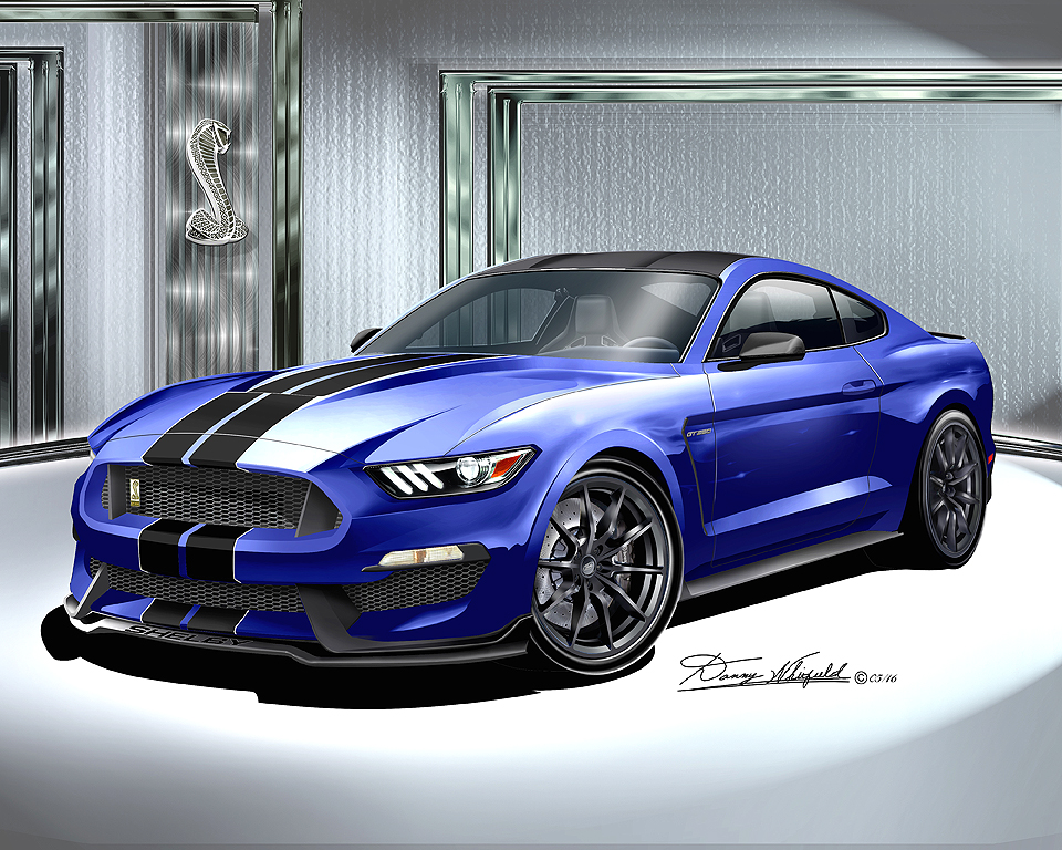2015 2016 ford mustang shelby gt350 fine art print by danny whitfield the automotive art of. Black Bedroom Furniture Sets. Home Design Ideas