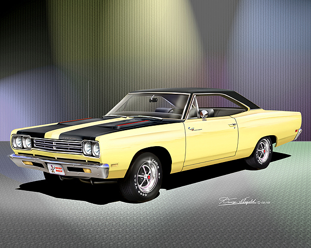 plymouth roadrunner fine art print poster by artist danny whitfield