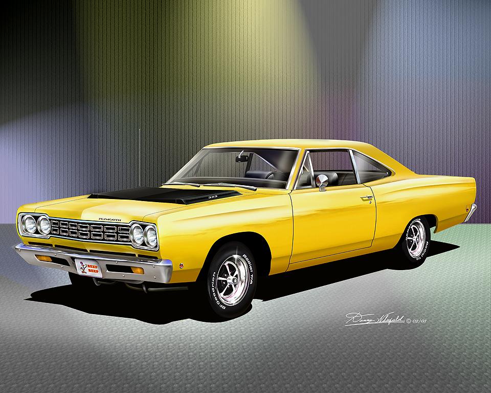 1968 Plymouth Roadrunner Lemon Twist Yellow Item 18 B 6