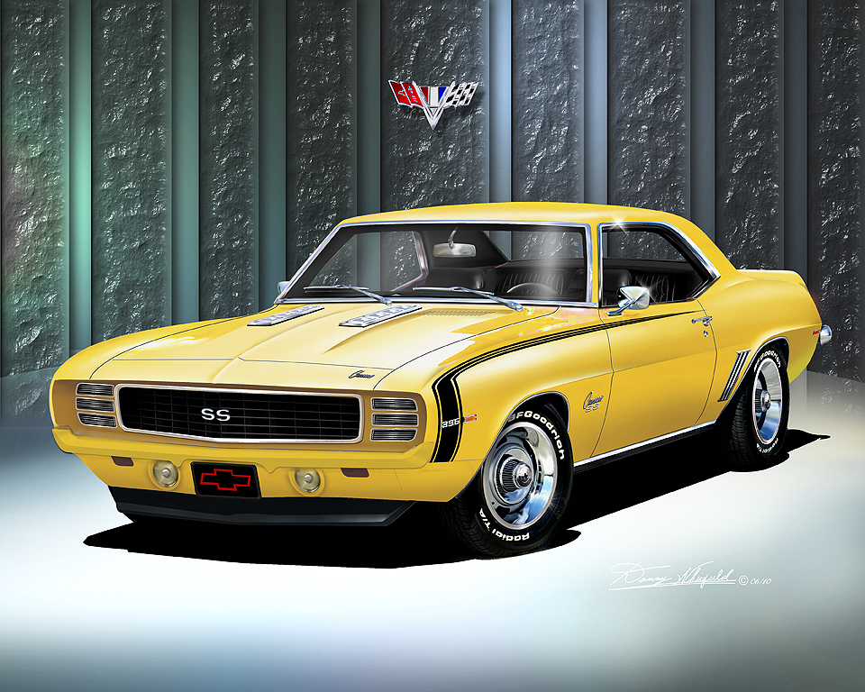 1969 CAMARO SS Z28 Art Print Poster By Danny Whitfield
