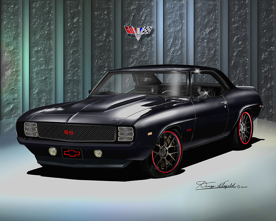 1969 camaro ss z28 art print poster by danny whitfield. Black Bedroom Furniture Sets. Home Design Ideas