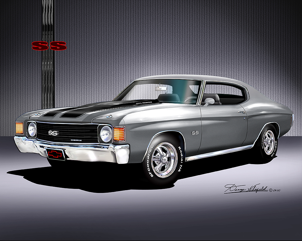American Muscle Tracking >> 1972 Chevrolet Chevelle Pewter silver (Item 2-X-14) – Art print by Danny Whitfield « The ...