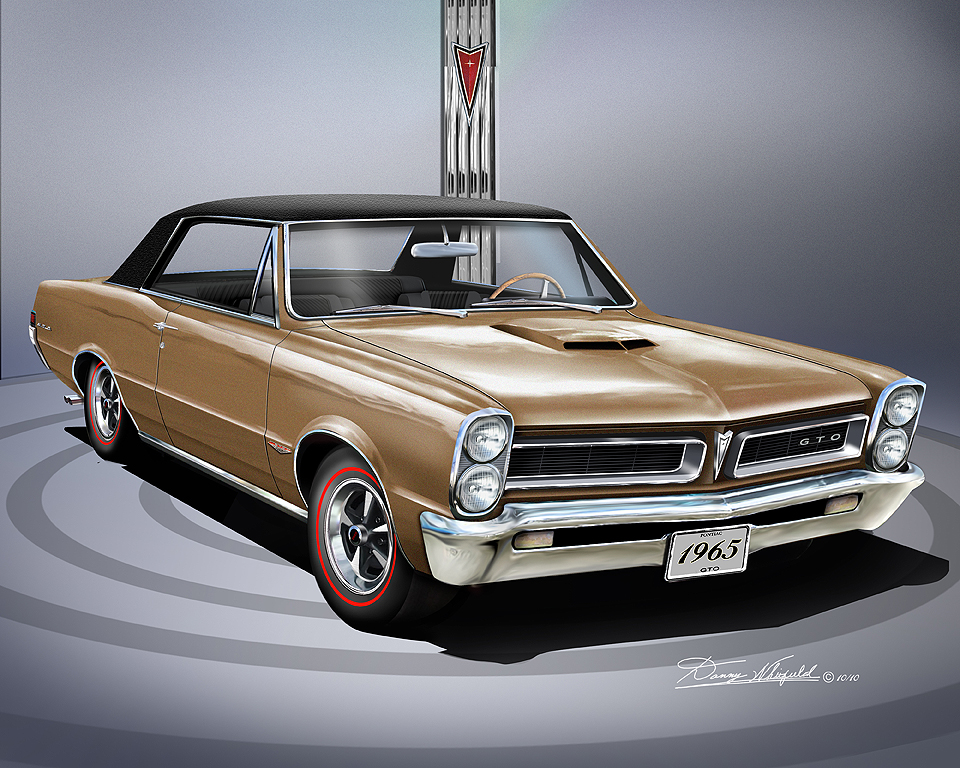 1964 1965 pontiac gto car art print poster by danny whitfield. Black Bedroom Furniture Sets. Home Design Ideas