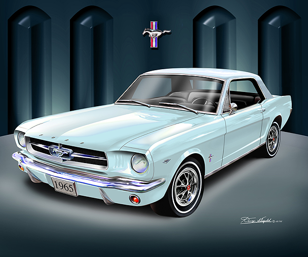 1965 Mustang Art Print Car Interior Design