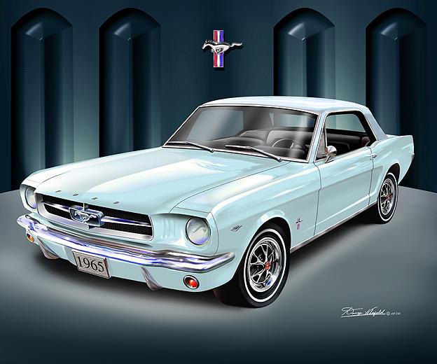 1965 Mustang Art Print Car Interior Design