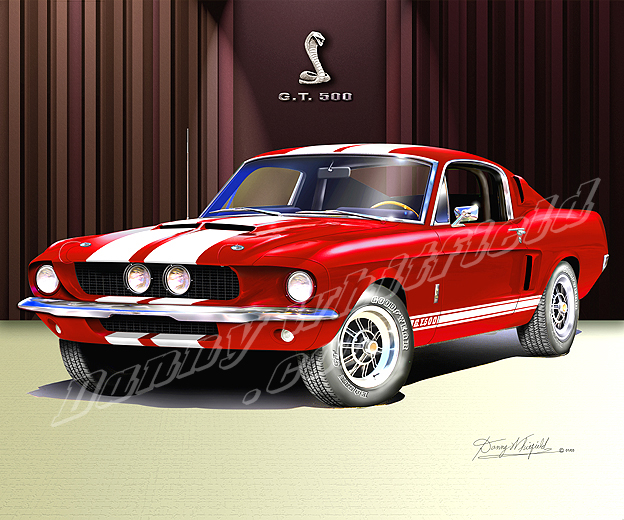 Shelby Gt Coupe: 1967- 1968 Ford Mustang Car Art Print Poster By Danny