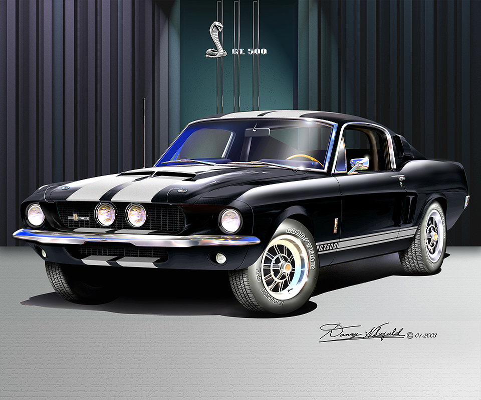 Black Mustang Silvers: 1967- 1968 Ford Mustang Fine Art Prints & Posters By Danny
