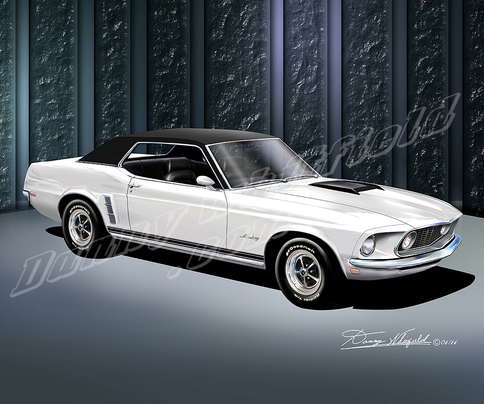 1969 1970 Ford Mustang Art Print Poster By Danny Whitfield