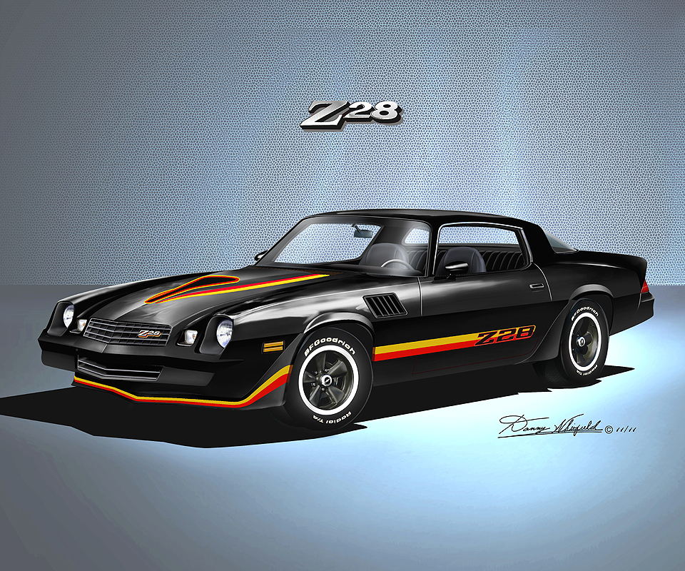 1978 1979 chevrolet camaro automotive art car art print by danny whitfield. Black Bedroom Furniture Sets. Home Design Ideas