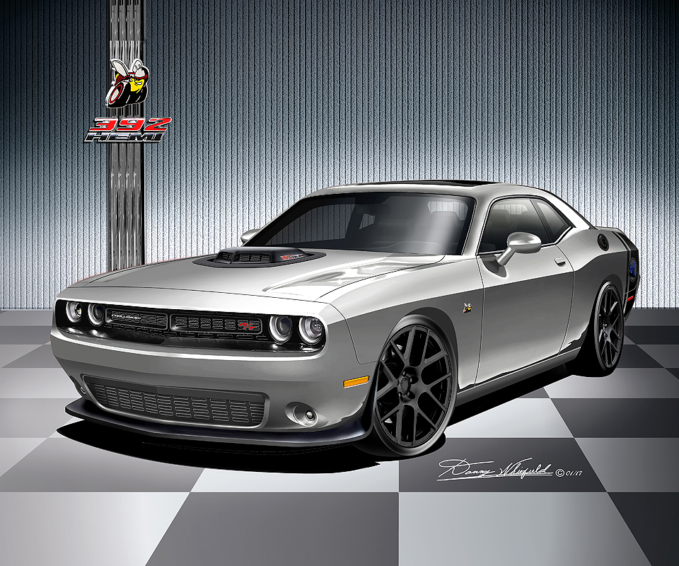 392 Hemi Scat Pack Shaker >> 2016 - 2017 Dodge Challenger Fine Art Print & Posters by Danny Whitfield