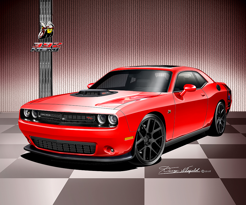 2008 2017 dodge challenger hell cat srt8 392 scat pack art prints by danny whitfield. Black Bedroom Furniture Sets. Home Design Ideas